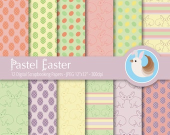 Easter Digital Paper - Pastel Easter Digital Paper - Pastel Digital Paper - Set of 12 Digital Scrapbooking Papers