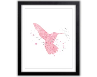 Bird Nursery Art, Pink and Gray, Hummingbird, BabyGirl Nursery, Watercolor, Hummingird Art, Bird Nursery Decor, Tree Art - BI004
