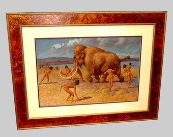 William Hutton Riddell Hunting Woolly Mammoth Watercolor Painting