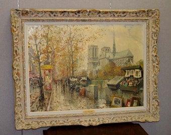 Jean Salabet Paris France Street Notre Dame Oil Painting Seine River