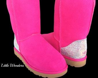 Swarovski Rhinestone Women Pink Ugg Boots