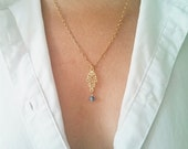 Gold Plated Necklace, Hamsa Gold Necklace, Lovely Charm Necklace, Filigree Charm Necklace, Natural Blue Agate, Gold Filigree
