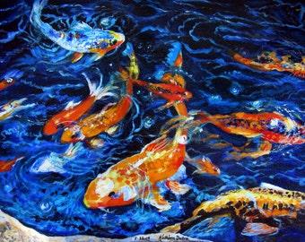 Koi fish painting etsy for Koi canvas print