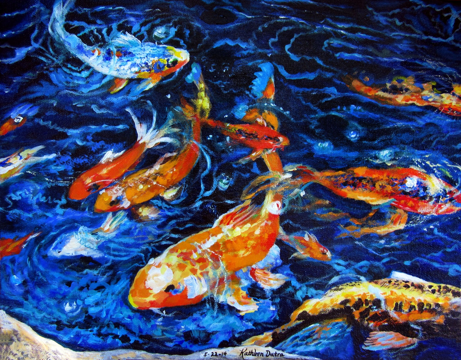 Koi fish painting print for Koi artwork on canvas