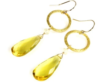 Yellow Lemon Quartz Drop Earrings with Vermeil Brushed Circles