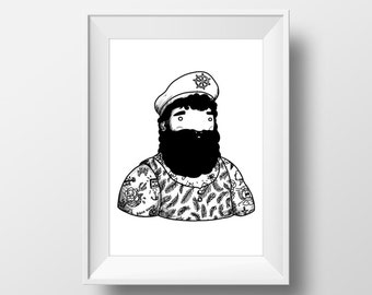 Digital Poster Beardy CAPITAN MORENO