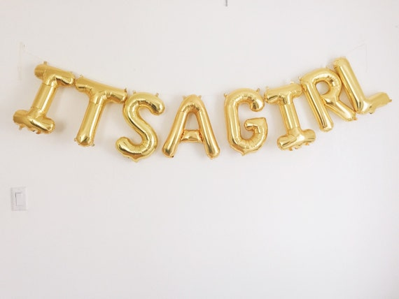 its a girl balloons gold mylar foil letter balloon banner kit