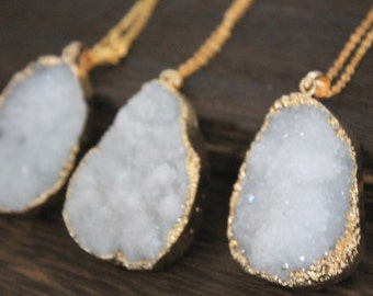 Mystic White Druzy Necklace in golden Christmas gift C333N_G