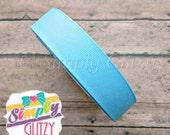 5 yards BLUE GLITTER Solid 7/8 Inch Grosgrain Ribbon