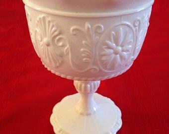 Vintage White Milk Glass Pedestal Vase, Compote, Candy Dish