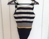 Jantzen 1980's Black | White | Yellow Striped One Piece Swimsuit