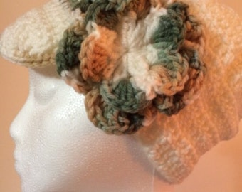 Womens off-white crochet hat and scarf with multi-color flower