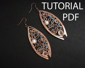 Wire wrap earrings tutorial, jewelry tutorial, copper earrings tutorial, jewelry lessons, jewelry instruction, wire wrap tutorial, pdf file