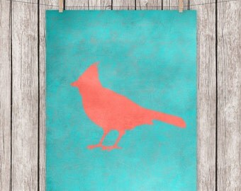 Rustic Red Bird Cardinal Art Print Printable Turquoise Coral  Wall Art, 8 x 10 Instant Download Digital File