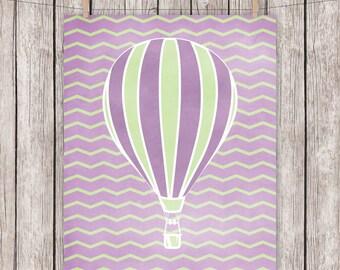 Nursery Printable Hot Air Balloon Purple Green Chevron Art Print, 8 x 10 Instant Download Digital File