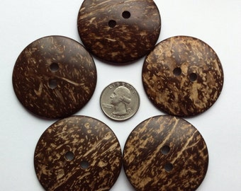 """5 Coconut Buttons 50mm Extra Large Coconut Shell Button 2"""" inch Natural Wood Button Brown 5cm Embellishments Sewing Notions Craft Supplies"""