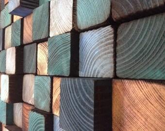 Wood Wall Mosaic - Wood Art Sculpture - Wall Art