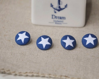 6pcs 1.5cm blue with star fabric button set star covered buttons bule buttons kids clothes buttons earring and bracele supplyt