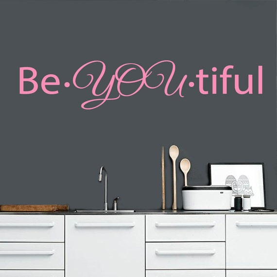 Custom wall decals words beautiful beauty by decalmyhappyshop - Stickers salon design ...