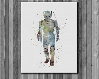 Tardis Doctor Who Poster, Cybermen -  watercolor, Art Print, instant download,  Watercolor Print, poster