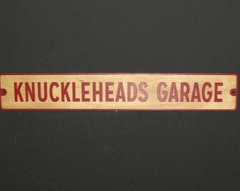 Knucklehead Garage wood wall sign man cave garage art