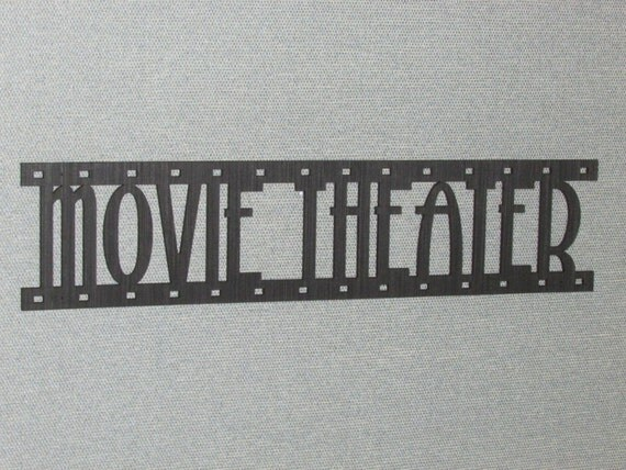 Movie Theater Film Strip Laser Cut Wood Wall Words Hanging