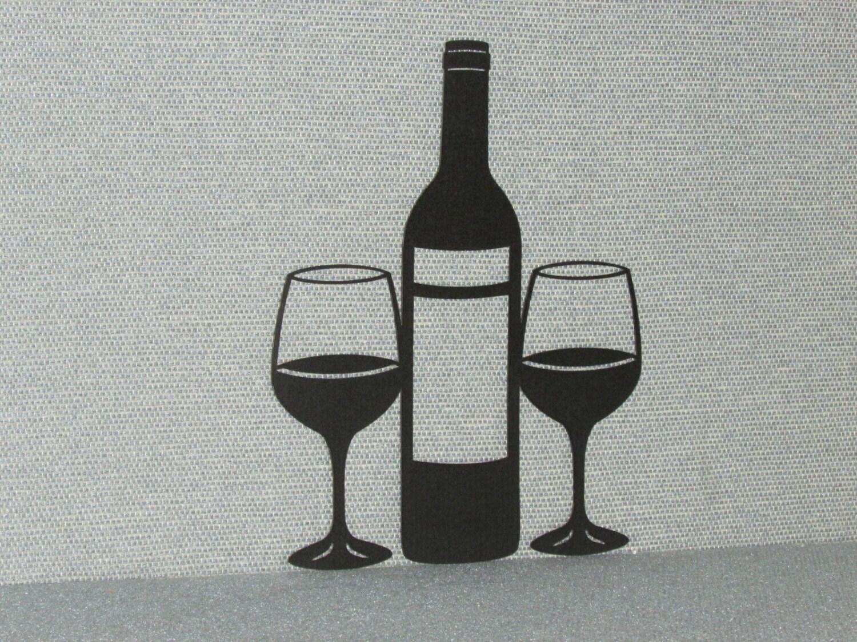 wine bottle glasses laser cutout wood wall art decor. Black Bedroom Furniture Sets. Home Design Ideas