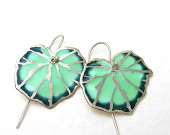 Begonia Leaf Earrings , Silver Enamel Earrings, Botanical Jewelry , Green Leaf Earrings .