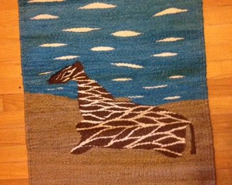 Giraffe Rug made with 100% hand washed, brushed and weaved wool.