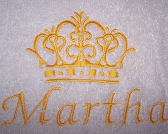 Personalised embroidered  Crown  bath towel (100% cotton)