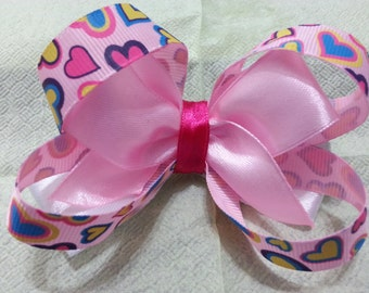 Amerikansky Bow. Hairpin. Pink barrette with hearts.
