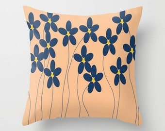 Decorative Throw Pillow Cover - Different sizes, With or Without Inserts, Indoors, Outdoors, Gift, Flowers, Orange, Blue, Stylized, Abstract