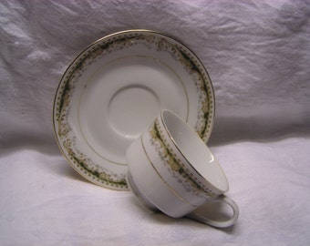 """Signature Made in Japan """"Queen Anne"""" footed cup and saucer"""