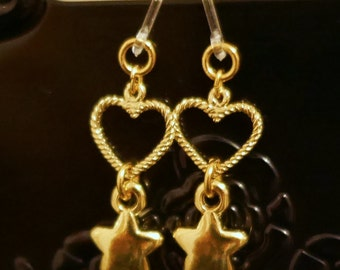 Gold Heart with Star Earrings