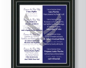 Printable 8x10 Air Force Wife Airman's Creed INSTANT DOWNLOAD