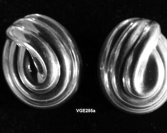 Vintage 1970's  Jondell, Spain Sterling Silver Clip On Puffy Earrings - VGE285