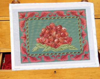 Maroon Cherries with Decorative Leaf Border, Hand Painted Stretched Needlepoint Canvas with Thread