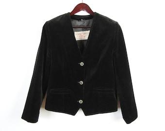 Black Velveteen Jacket Womens Long Sleeves Formal Blazer Medium Size