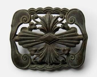 Belt buckle Ottoman Antique Turkish Empire 17th - 18th Century, antique bronze Muslim Islamic ornament applique for belt, Original Authentic