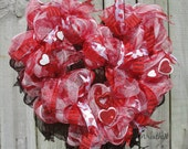 Valentine Heart Wreath - Red Pink and White Outdoor Indoor Romantic Door Holiday Decoration in Deco Mesh