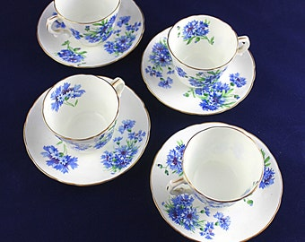 Hammersley Co Bone China Cornflower Cups Saucers Blue England Tea Set