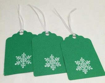 Holiday Gift Tag, Christmas Gift Tag, Hang Tag: 12 Holiday/ Christmas Snowflake Gift Tags