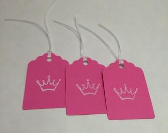 Princess Gift Tag, Princess Favor Tag, Hang Tag : 12 Princess Crown Gift Tags