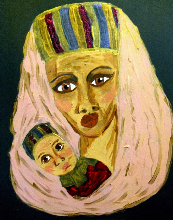 "Acrylic (framed) Painting ""Lord of Lords"" Madonna Ethnic Folk Art, women of color Black Madonna African American Art"