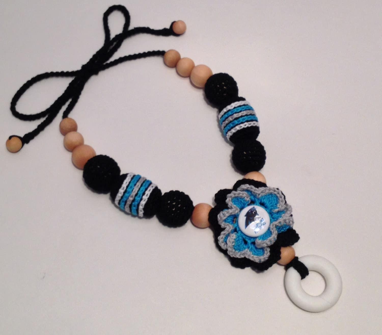 carolina panthers crochet beaded nursing sling necklace w. Black Bedroom Furniture Sets. Home Design Ideas