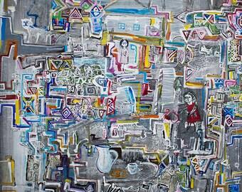 "Abstract Painting, Original Painting, Patterned Geometric Painting, Contemporary Art, Acrylic PAinting, 50X71 cm. ""Ta Ta Bu Bu"", Fine Art"
