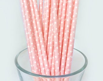 Pink Party Straws - Pink Polka Dot Drinking Straws - Soft Pink Paper Straws - Baby Shower Decorations - Princess Party Decor - Girls Party
