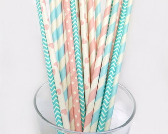Gender Reveal Party Decor -Blue and Pink Paper Straws -Striped Paper Straws -Baby Shower Decor -Teal, Blue,Turquoise, Polka Dot Party Straws