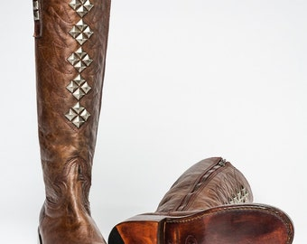 Nicole -Distressed Leather Boot with Antique Silver Pyrimad Studs