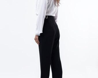 Elegant Black trousers / wool blend trouers / High waist trousers / Black pants / Women pants